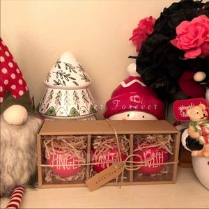 Jingle Santa & Wish Red Rae dunn ornaments